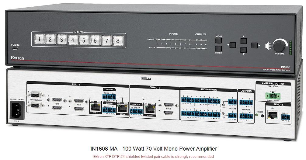 IN1608 MA 带70V定压功放的AV切换器