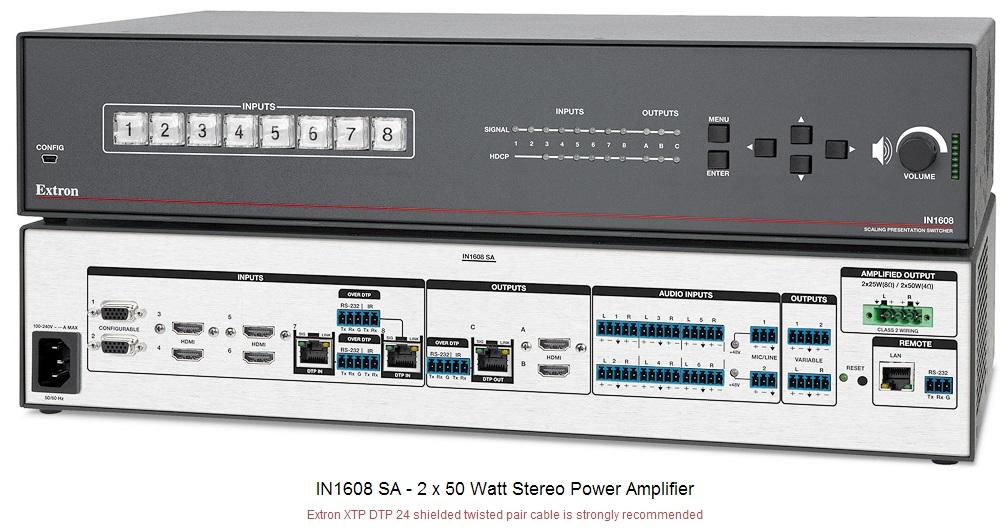 IN1608 SA 带100W立体声功放的AV切换器