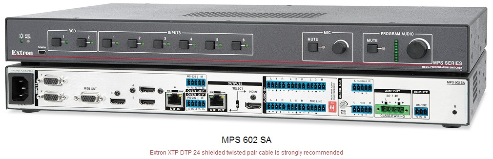 MPS 602 SA 带立体声功放的双绞线发送切换器